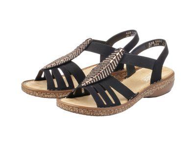 Rieker Black and Gold Leaf Sandal