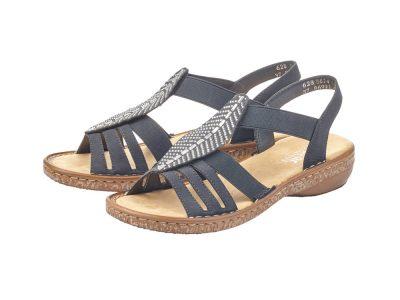 Rieker Navy Silver Leaf Sandals