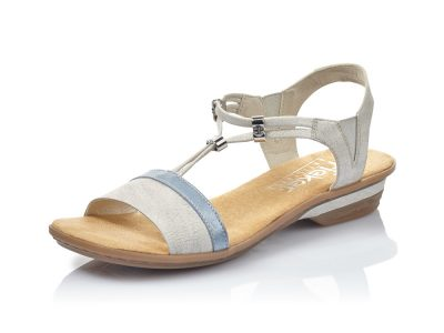 Rieker White, Silver and Blue Sandal