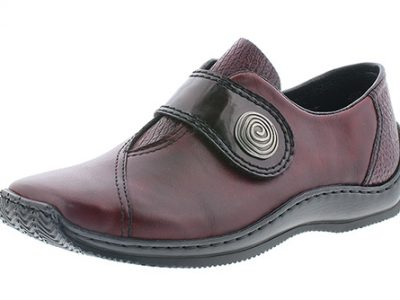 RIEKER Maroon Leather Velcro Strap Shoes