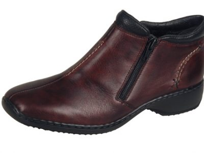 RIEKER Maroon Leather Zip Boots