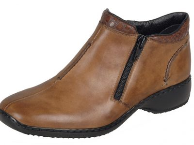 RIEKER Tan Leather Zip Boots