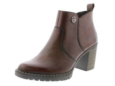 RIEKER Brown Heeled Leather Boots