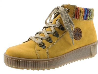RIEKER Yellow Zip Ankle Boots