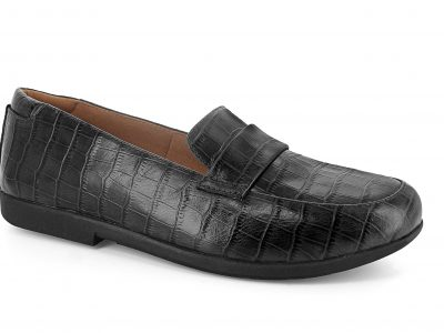 STRIVE Milan Black Croc Leather Shoes with Biomechanical Orthotics