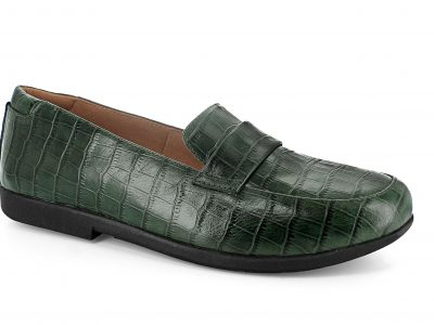 STRIVE Milan Green Croc Leather Shoes with Biomechanical Orthotics