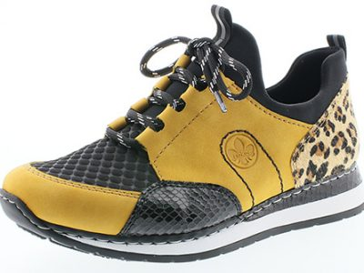 RIEKER Yellow/Black and Leopard Print Trainers