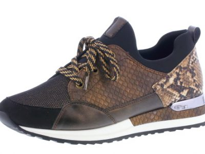 REMONTE Brown/Bronze Reptile Print Trainers