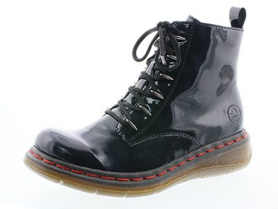 RIEKER Ladies Midnight Blue Zip and Lace Boots